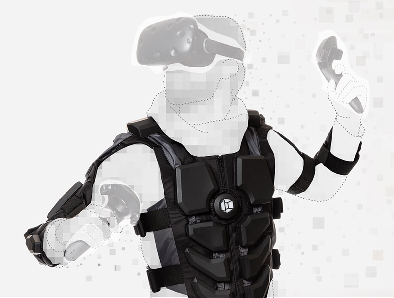 outline of gamer wearing HTC Vive headset and Hardlight Haptic Suit