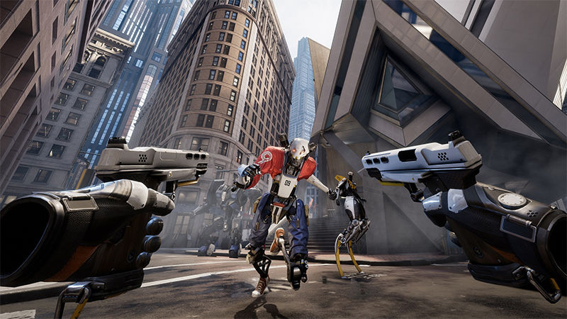 View of Robo Recall VR game from Oculus Rift headset