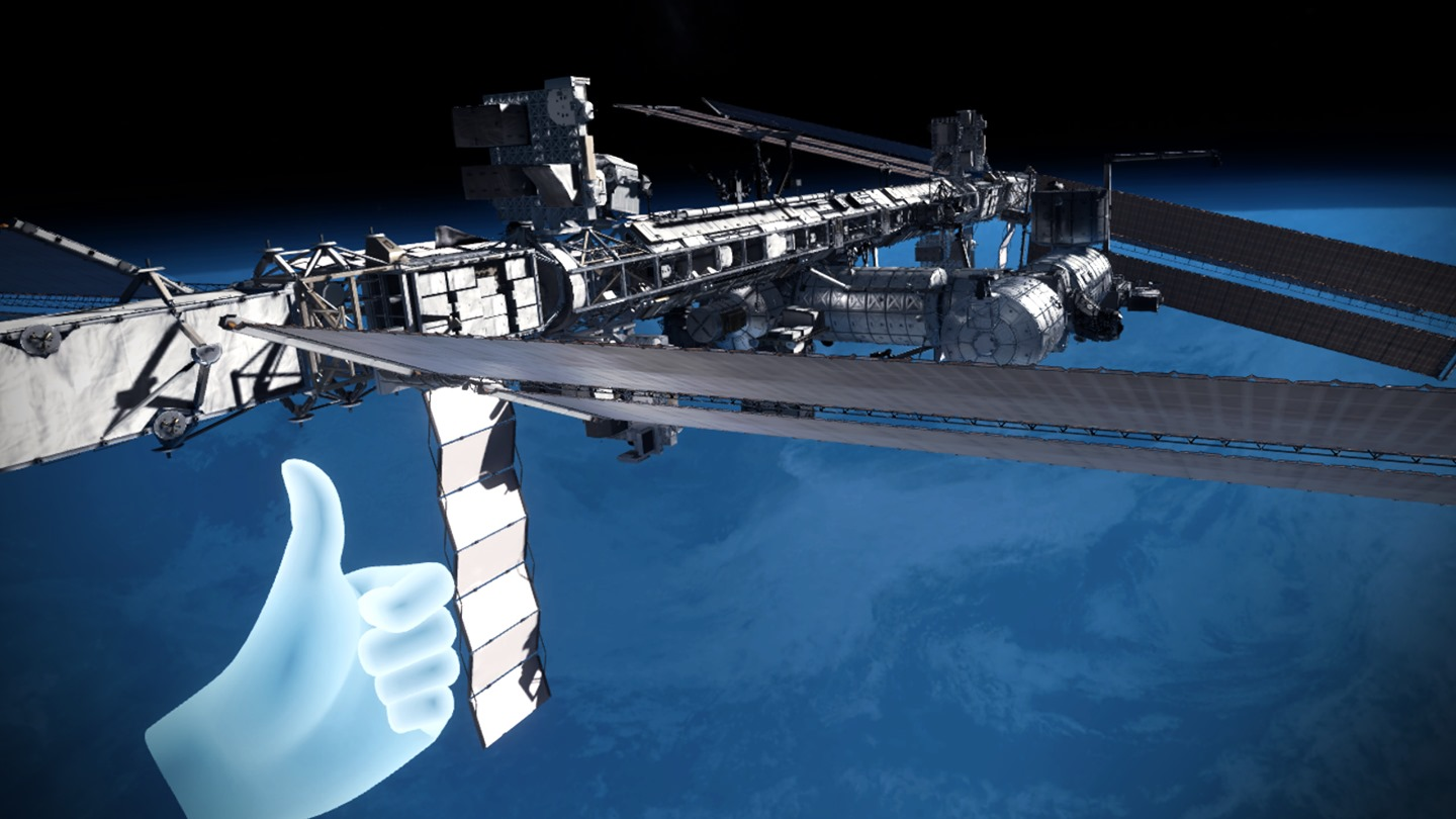 View of Mission: ISS VR experience from Oculus Rift headset
