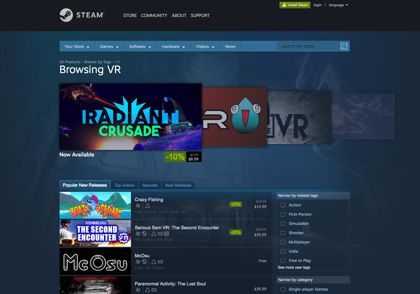 Valve's STEAM software, vr category