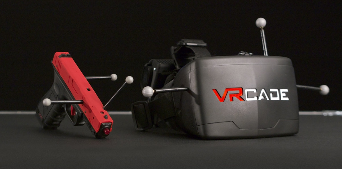 VRcade hardware featuring the VRcade logo and motion capture modules